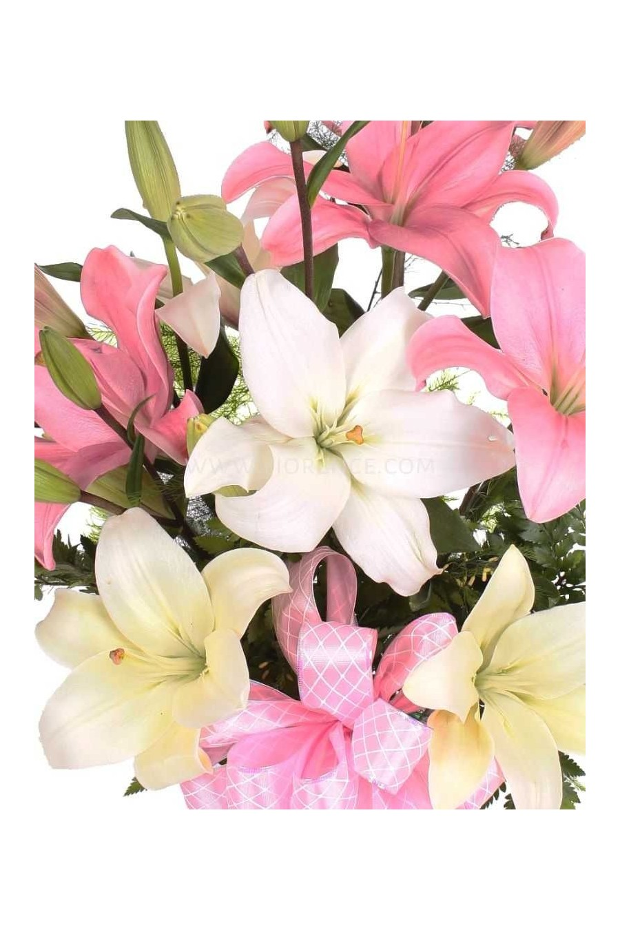 Flowers Pink and white lilies bouquet